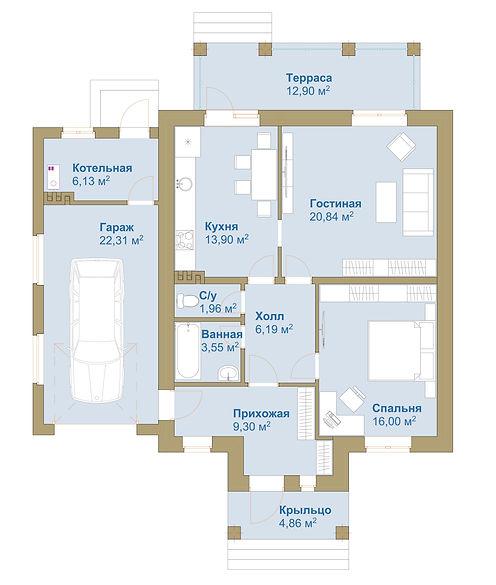 План этажа с 1 спальней