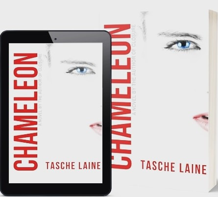 Tablet with the cover of novel Chameleon on left, book cover of Chameleon on right.
