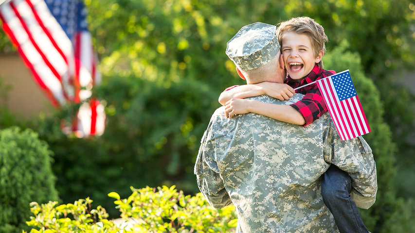 Happy reunion of soldier with family, so