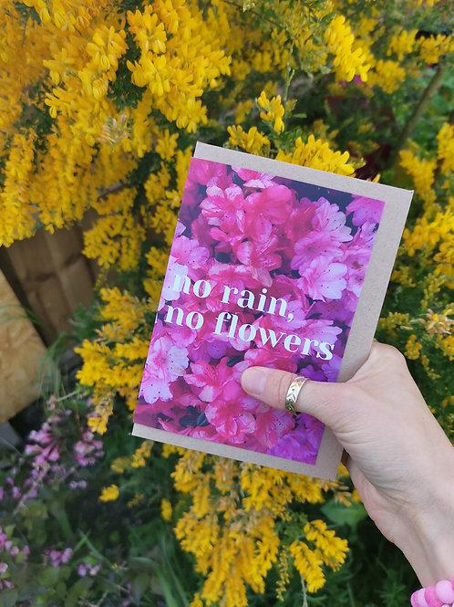 No Rain, No Flowers Greetings Card
