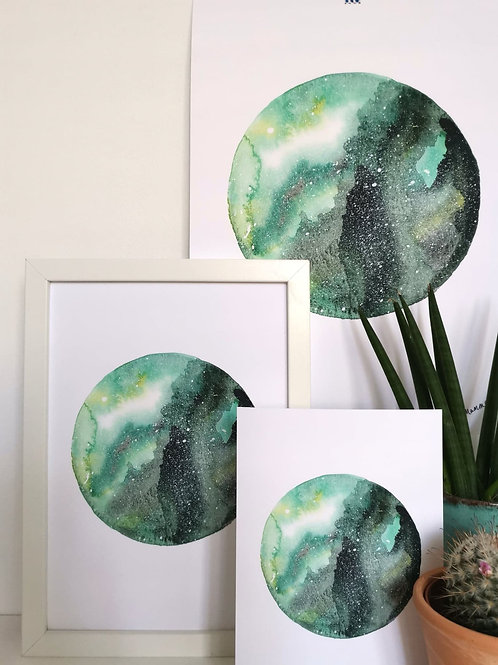 NIGHT SKY PRINT - green watercolour galaxy