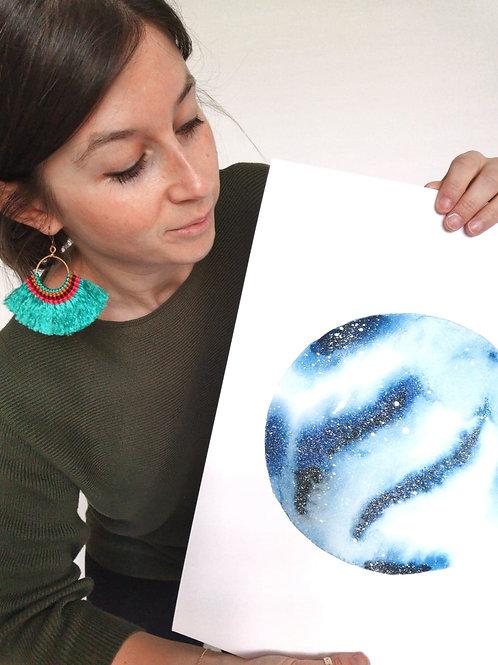 NIGHT SKY PRINT - blue watercolour galaxy