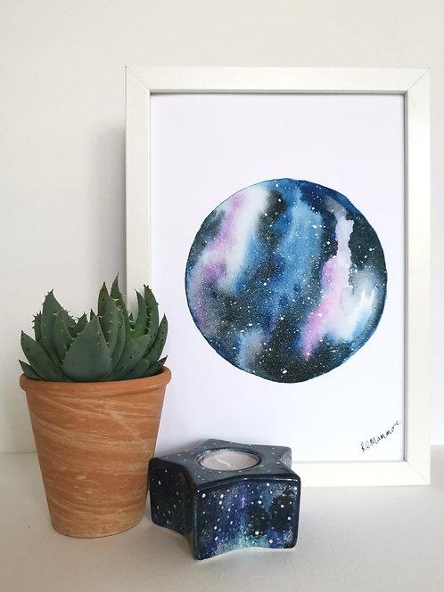 NIGHT SKY PRINT - pink and black watercolour galaxy