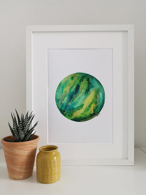 GALAXY PRINT - green and gold pigment galaxy