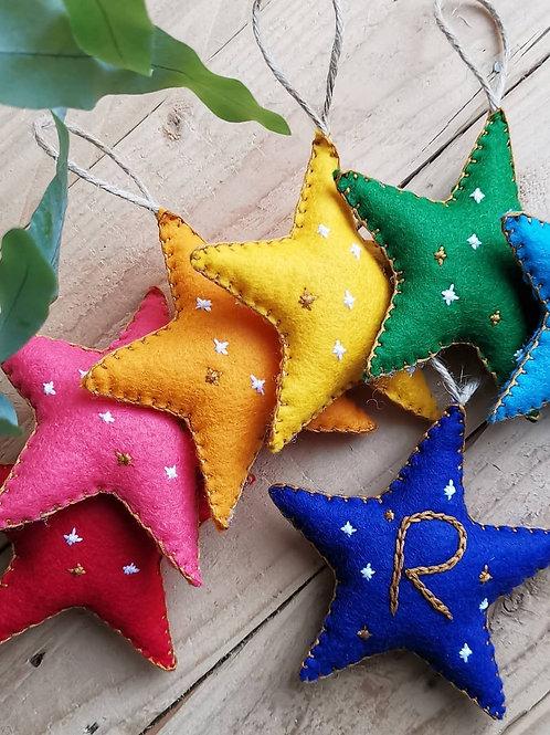 Handmade Personalised Felt Star Decoration