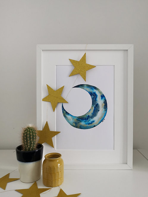 MOON PRINT - blue and gold pigment moon