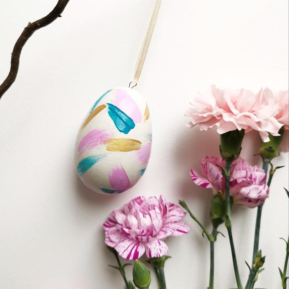 Rachel Mammone Paints Ceramic Easter Egg Decoration