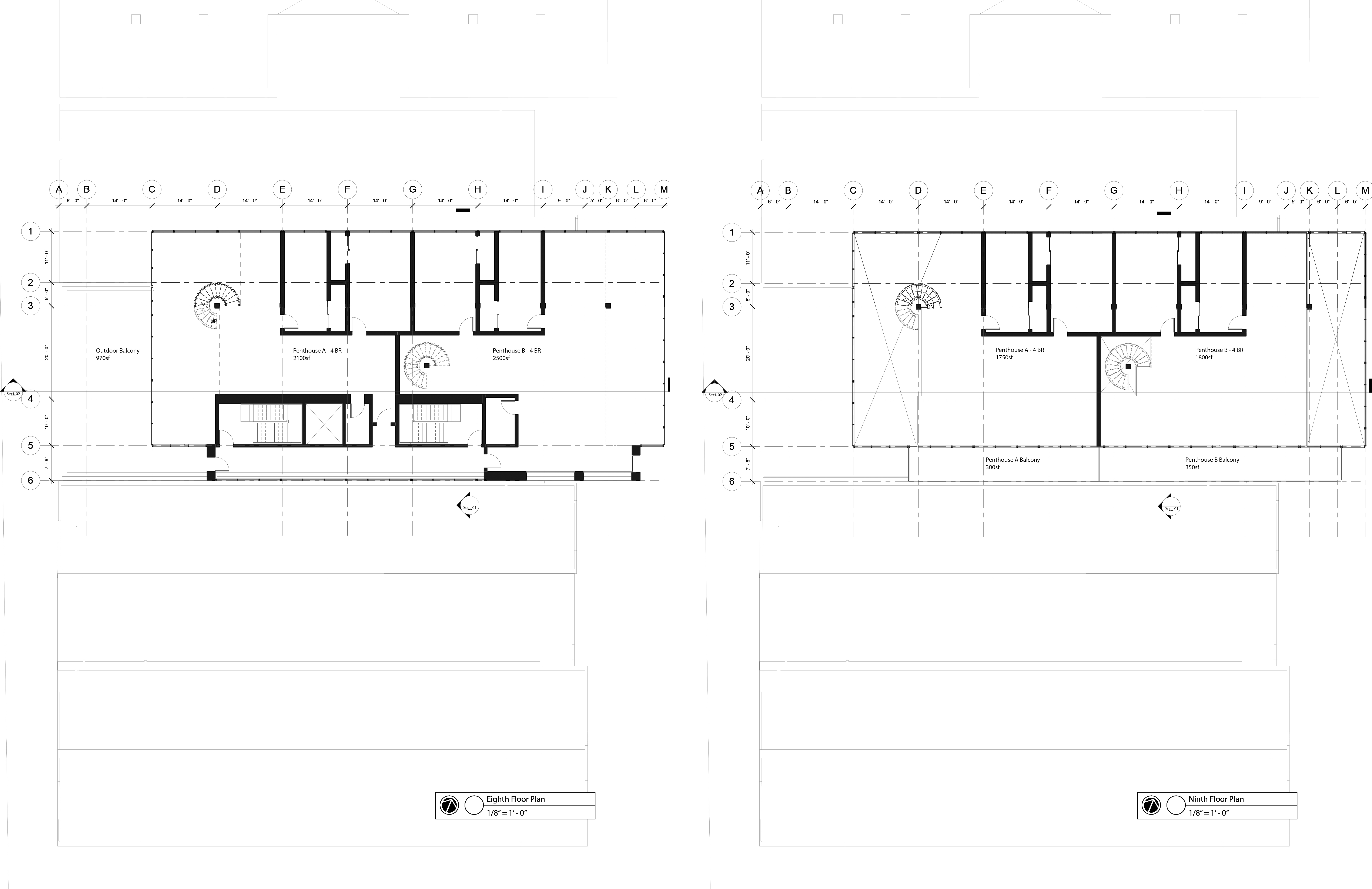 8th floor - 9th floor plans