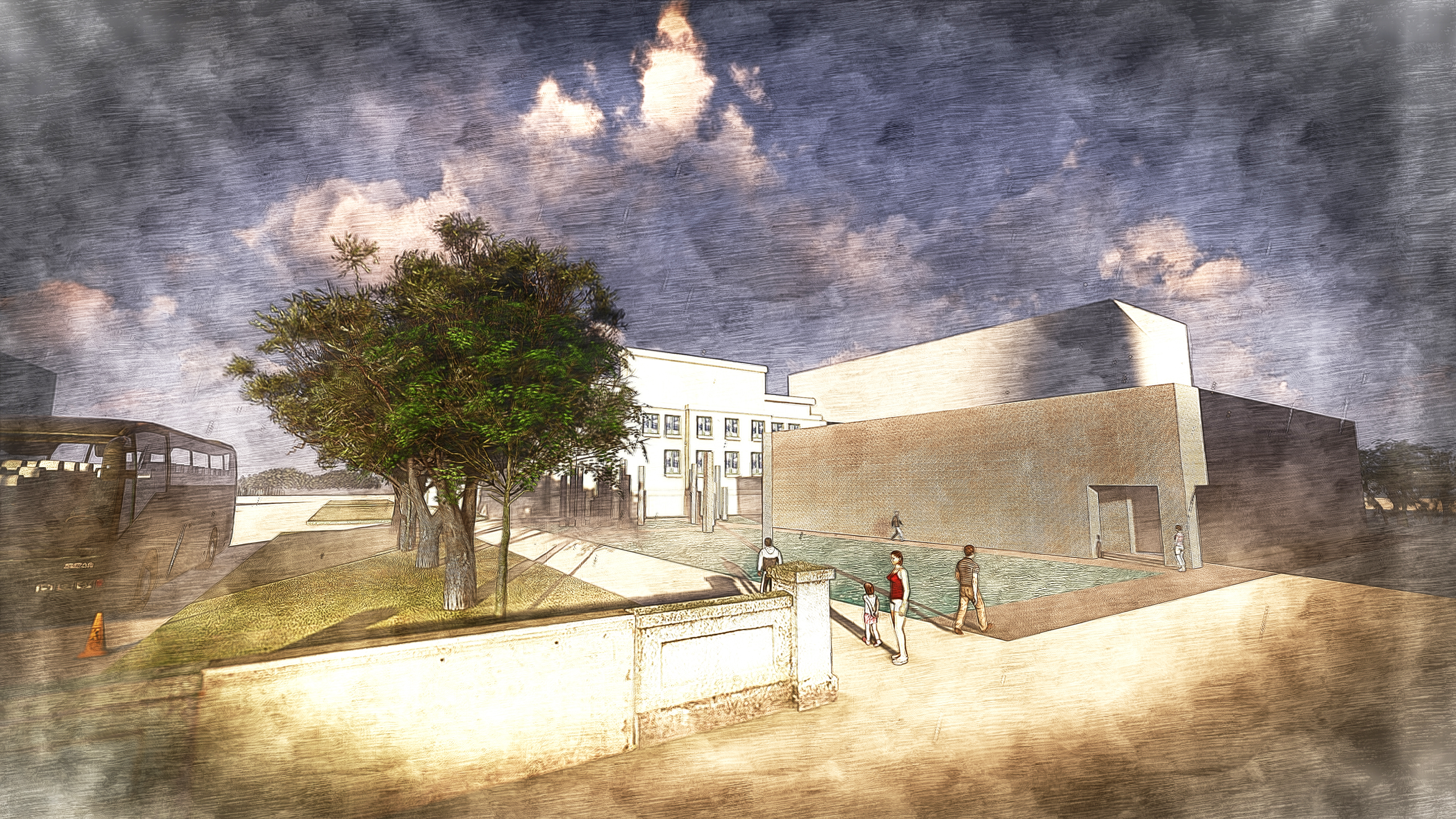Exterior Rendering - Entrance Approach