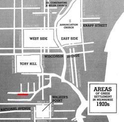 Areas of Greek Settlement Milwaukee