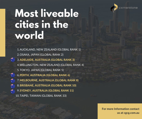 Four Australian cities are listed among the top 10 most liveable cities all around the world