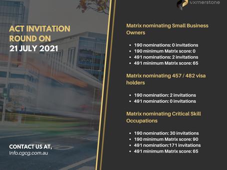 ACT INVITATION ROUND ON 21 JULY 2021