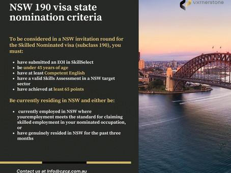 NSW 190 visa state nomination criteria