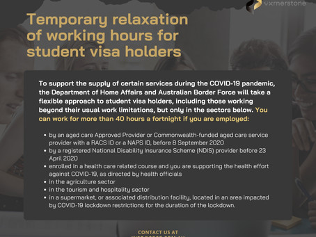 Temporary relaxation of working hours for student visa holders