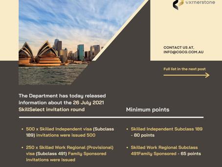 26 July 2021 SkillSelect invitation round
