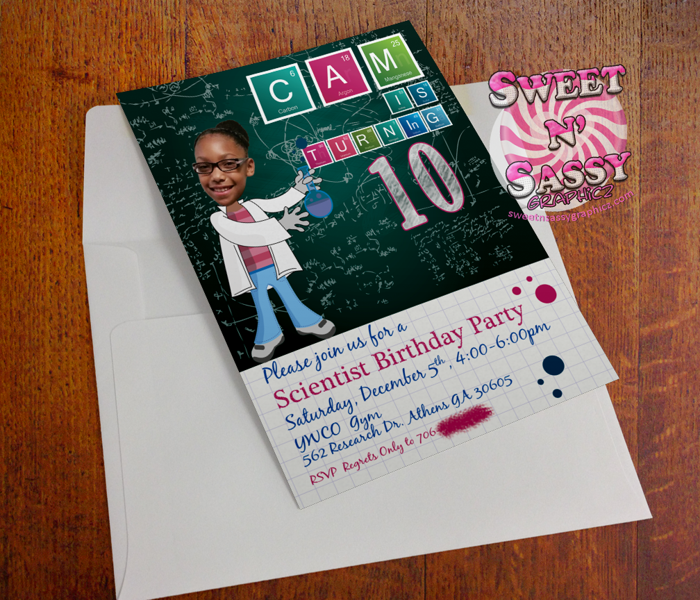 Scientist Birthday invite