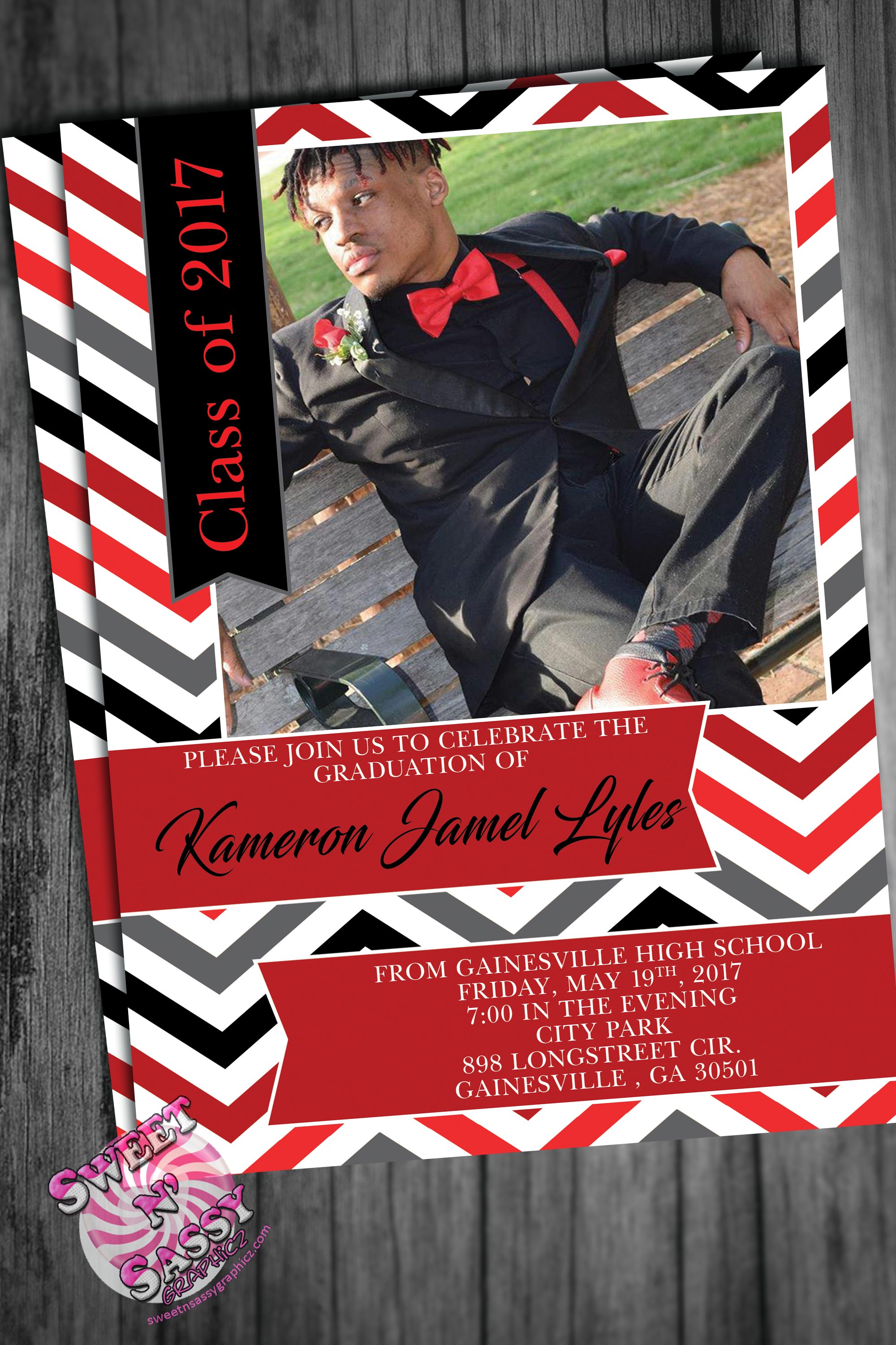 Chevron Design Grad Invitation
