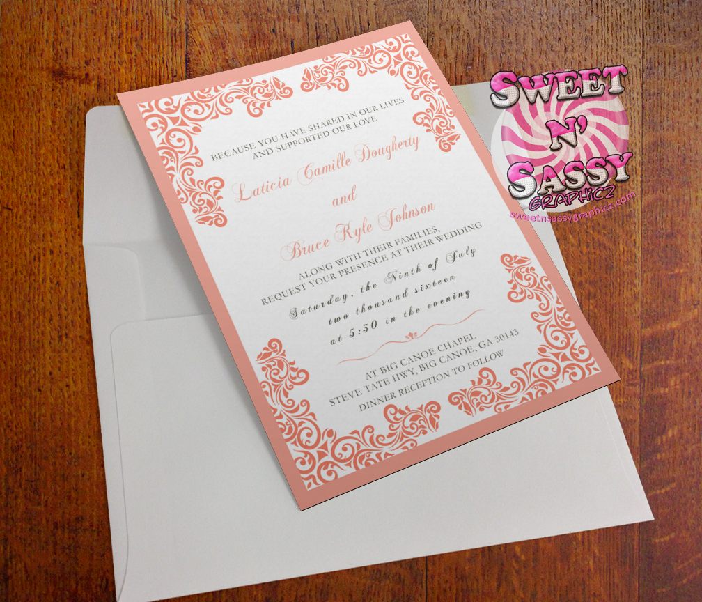 Peach Lace Wedding Invitation