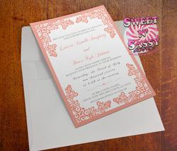 Peach Lace Wedding Invitation