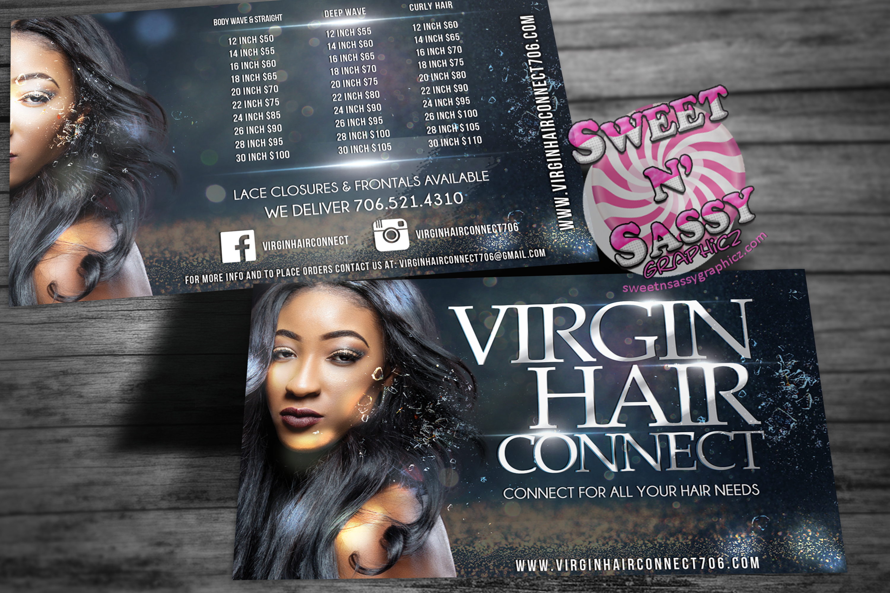 Virgin Hair Connect Post Card Flyers