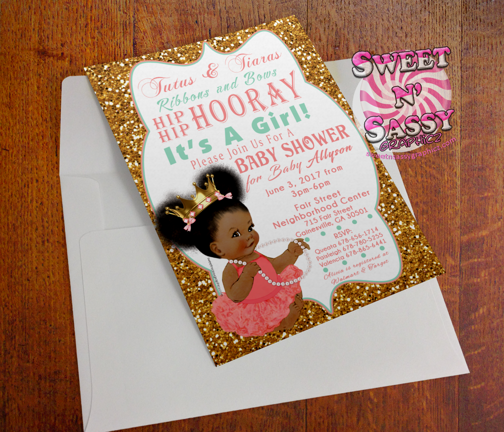 Tutus and Tiaras Babyshower Invite