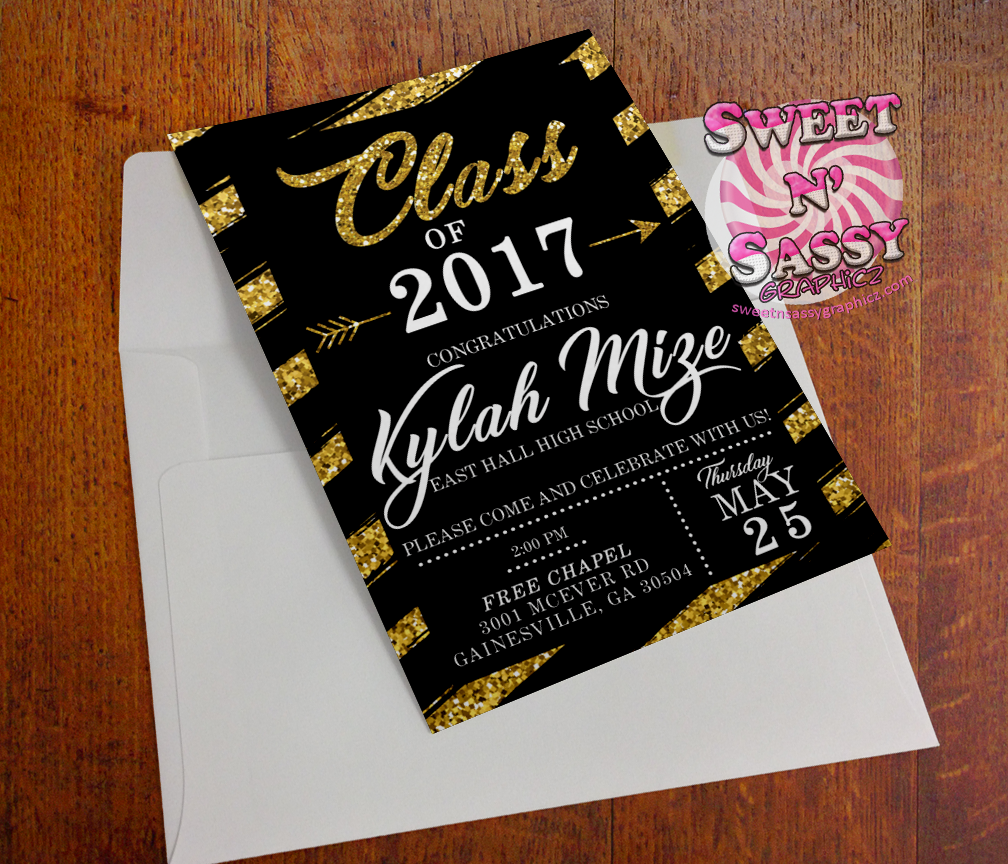 Glitter Stripes Grad Invite