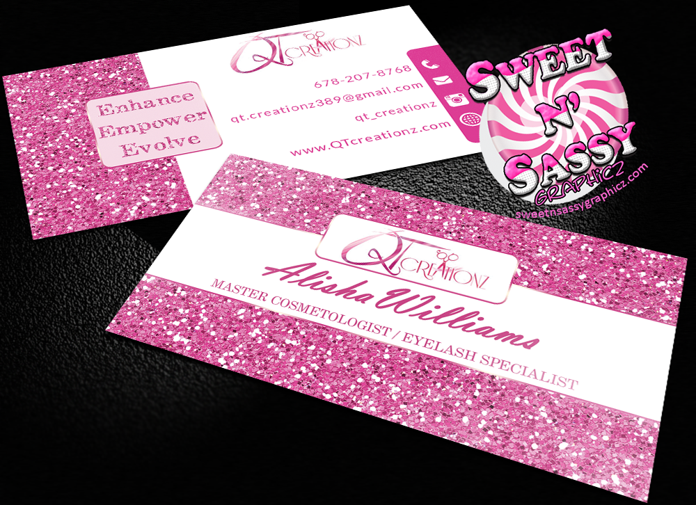 Pink Glitter Inspired Business Cards