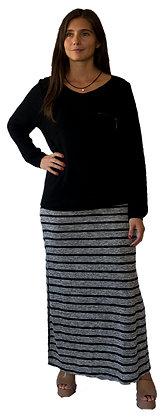 Falda Gris con listas Negras.