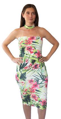 Vestido de Fiesta Hawai con amarre al cuello.