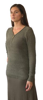 Sweater Verde musgo con cierre en V.