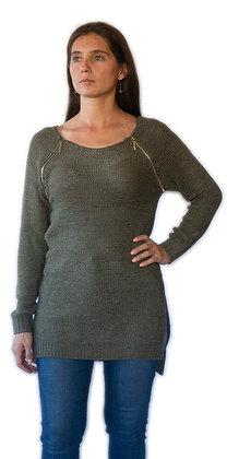Sweater Verde musgo con 2 cierres.