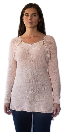 Sweater Rosado con 2 cierres.