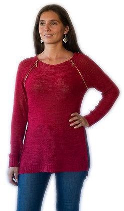 Sweater Rojo con 2 cierres.