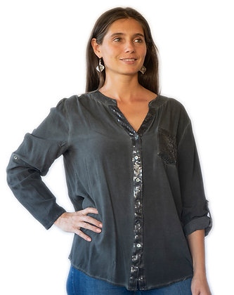 Blusa Marengo manga larga, con lentejuelas.