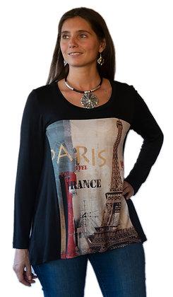 Polera manga larga negra con diseño Eiffel.