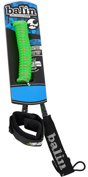 """Balin Monstercoil SUP Ankle Leash 10"""" - Green"""
