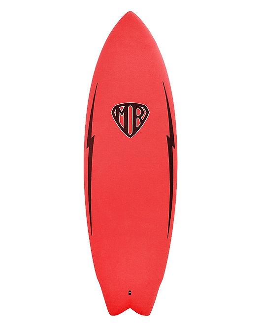 """MR Epoxy Twin Fin Softboard 5'6"""" Red"""