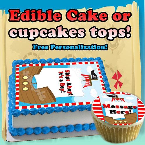 """""""Ships Ahoy its a boy"""" Edible cake topper"""