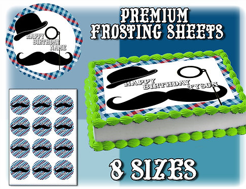 Flannel Gentlemen Cake topper - Monocle, mustache and hat.
