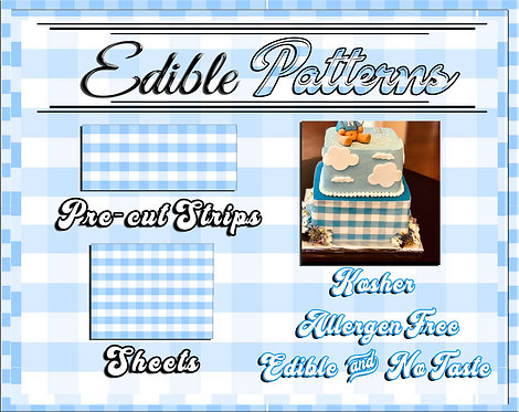 Blue Gingham cake strips or sheet - checkered, flannel