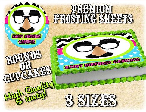 Gag glasses cake topper - Mustache, glasses, nose
