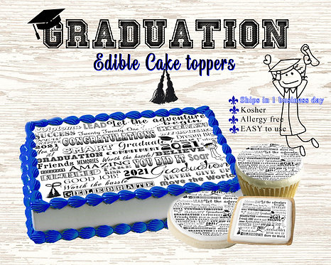 Graduation words cake strips, sheets, cupcake, cookie toppe