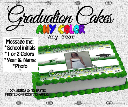 Graduation Cake topper- includes school colors and photo!