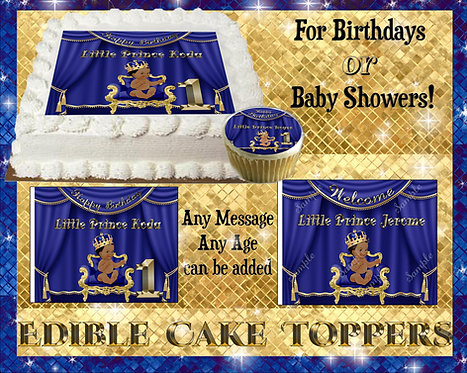 """Royal baby"" Blue Edible Cake topper - Crown king prince - Babyshower"