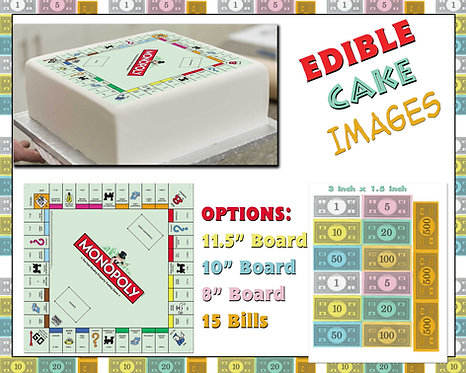 Edible cake Monopoly board and edible money