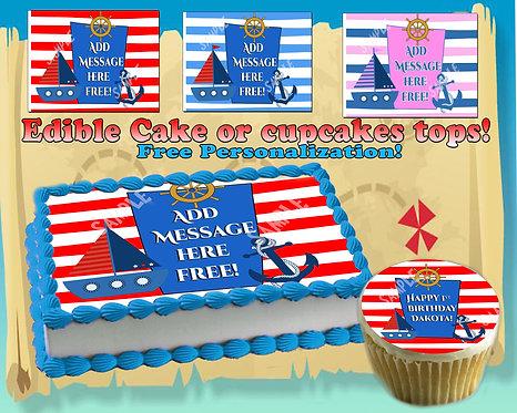 Nautical Boy or Girl edible cake topper