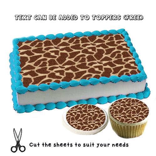 Edible giraffe pattern cake topper