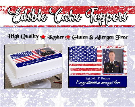 Military Retirement or promotion edible cake topper - American Flag