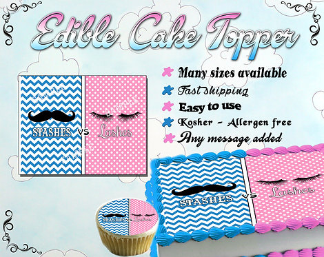 Mustaches or Lashes Gender Reveal Cake toppers
