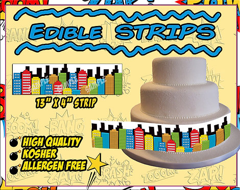 Comic book skyline - strips for sides of cakes